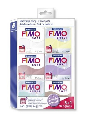 Fimo soft kleuren set candy colours 5 + 1 pakje gratis.
