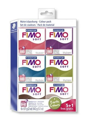 Fimo soft kleuren set earth colours 5 + 1 pakje gratis.